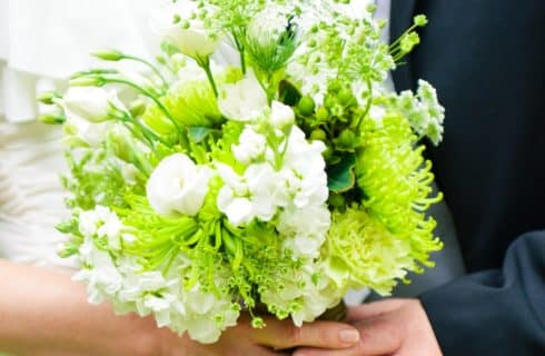 Bridal bouquet with white flowers and greenery