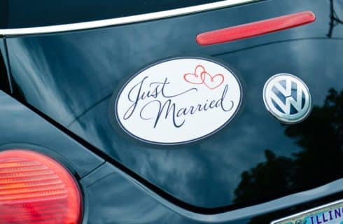 Trunk of Volkswagen Beetle with Just Married sticker